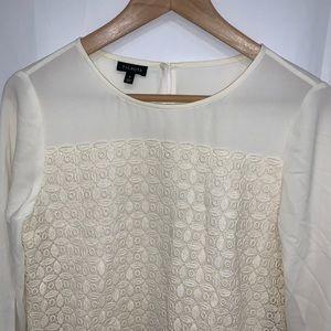 Talbots ivory lace overlay long sleeve blouse